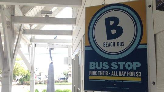 The Ocean City Beach Bus runs up and down the Coastal Highway.