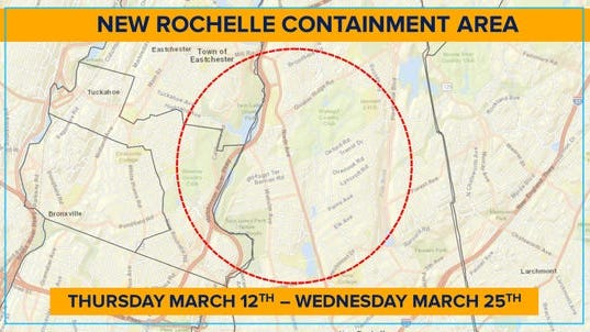 This is the area that will be part of the New Rochelle coronavirus 'containment area,' where large gathering spaces like schools and temples will be closed through March 25, 2020.