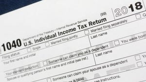 A portion of the 1040 U.S. Individual Income Tax Return form for 2018 in New York.