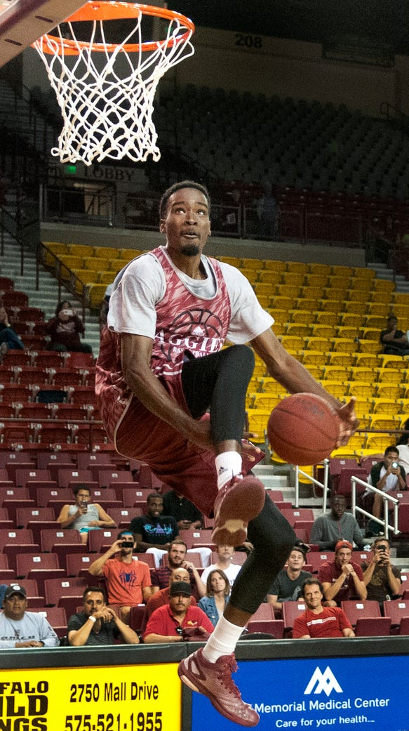 New Mexico State's Jalyn Pennie takes an attempt at