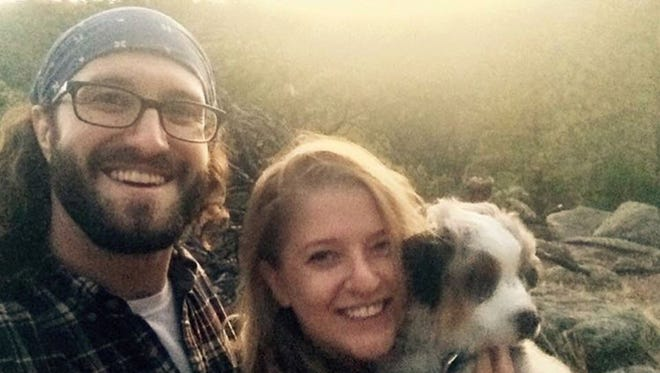 Matt Adams, Heather Starbuck and their dog, Theo, together weeks before Adams died of an opioid overdose.
