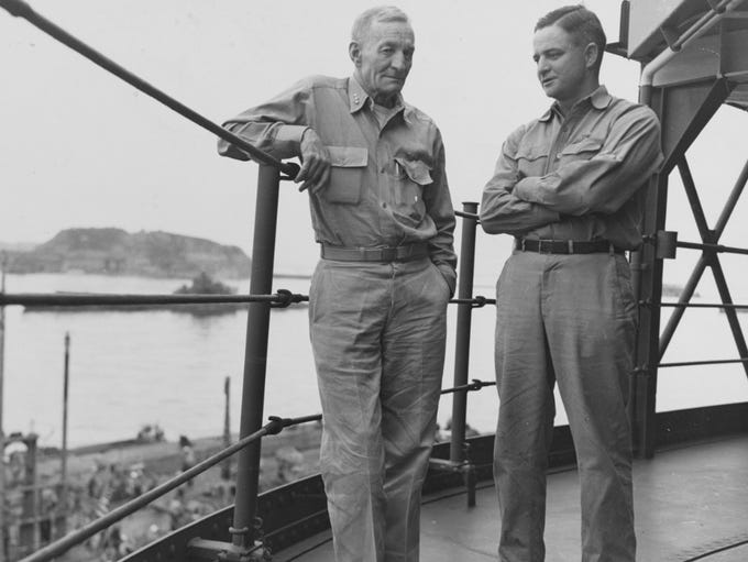 Vice Adm. John S. McCain Sr. with his son, Cmdr. John