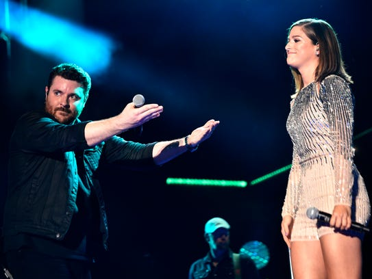 Chris Young performs with Cassadee Pope at Nissan Stadium