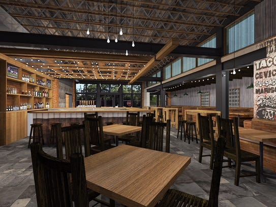 Architectural renderings of the interior of Central Tacos & Tequila show a variety of seating options, natural lighting and wall tattoo 'murals.'