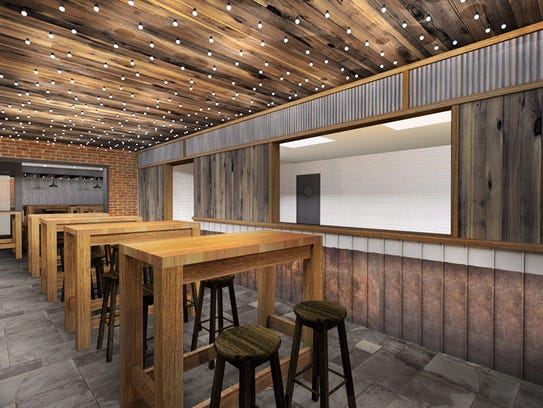 Corrugated metal, high tops and a raised ceiling are featured in this rendering of Central Tacos & Tequila in Westmont. The restaurant is being renovated by P.J.W. Restaurant Group at the site of the former Irish Mile.