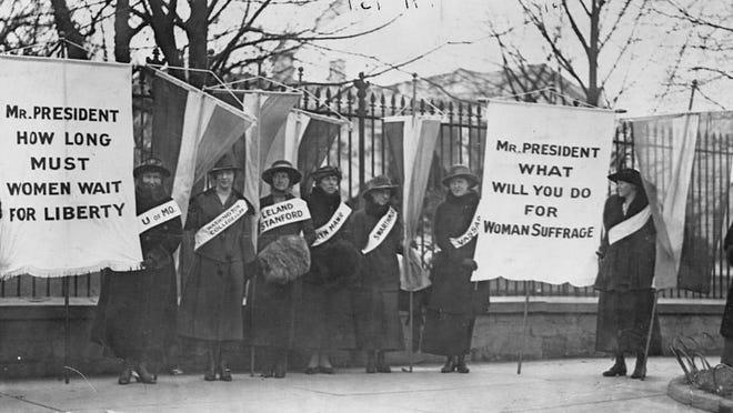 Protesting in Washington D.C., in 1917.