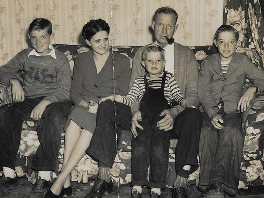 The Young family in the late 1940s, from left, son