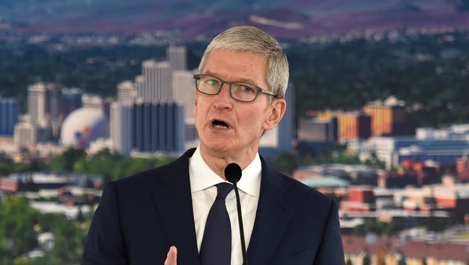 Apple CEO Tim Cook visited Reno for the groundbreaking ceremony of Apple's downtown Reno facility on Jan. 17, 2018.