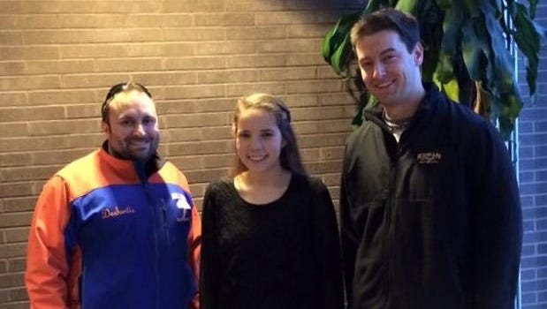 Julia Terry (center), who was recently selected for the the 2016 All-State Orchestra, is pictured with her band instructors Robert DeSantis (left) and Joseph Sino.