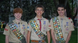 Connor Farry, left, Peter O'Neill, Joshua Masciovecchio have attained the rank of Eagle Scout.