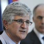 U.S. Sen. Bob Casey, right, looks on as Dr. Paul Offit, the Director of the Vaccine Education Center at at The Children's Hospital of Philadelphia, speaks during a news conference Friday in Philadelphia.