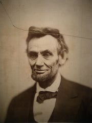 "The original print of the ""cracked-plate"" portrait of Abraham Lincoln is on display at the National Portrait Gallery on Thursday, Feb. 12, 2015, in Washington, D.C. Lincoln said, ""My policy is to have no policy."" (Olivier Douliery/Abaca Press/TNS)"