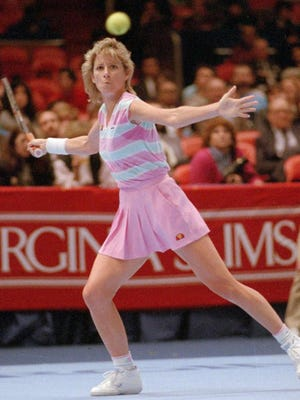 Chris Evert, seen in this 1987 file photo, reached 34 Grand Slam singles finals, more than any other player in the history of professional tennis.