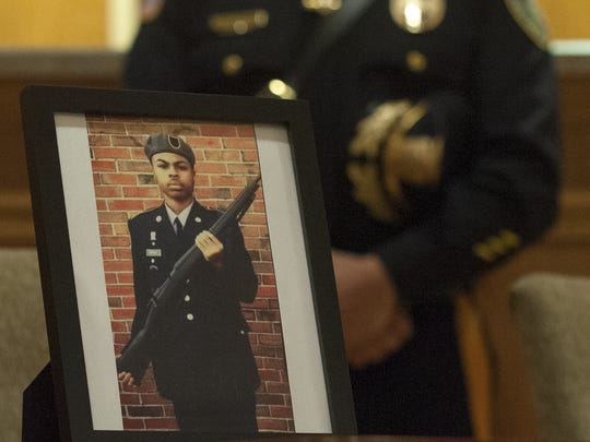 A photograph of the late Antwan L. Timbers, 17,  from his Junior ROTC is shown during a press conference in Burlington City nearly three years ago. Antwan was struck and killed by an alleged drunk driver in May of 2016.