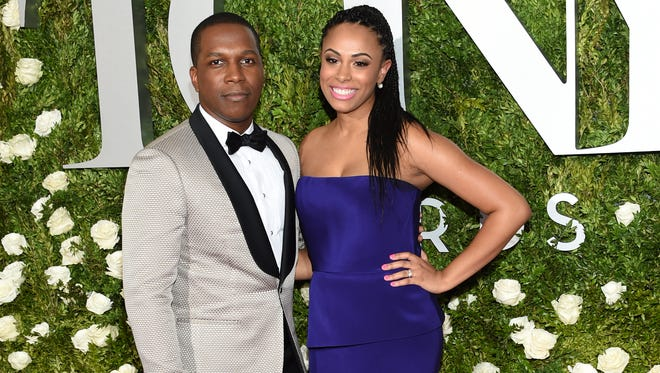 Leslie Odom Jr. and his wife Nicolette Robinson on the Tonys red carpet.