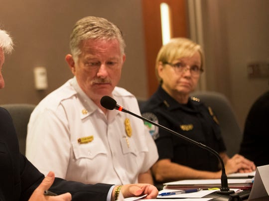 Knoxville Fire Chief Stan Sharp and Knoxville Police Deputy Chief Cindy Gass, the representative for Knoxville Police Chief David Rausch.