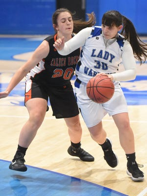 Cotter's Marie Reed (right) is defended by Calico Rock's Hannah Davis on Tuesday night at Cotter.