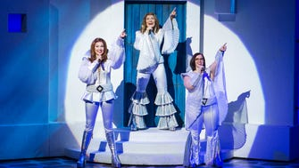 """The farewell tour of """"Mamma Mia"""" features (from left) Cashelle Butler, Betsy Padamonsky and Sarah Smith."""