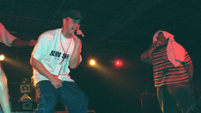 Eminem performing in September 1997 at the Palladium club in Roseville.