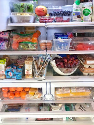 Here's a peak into Leslie Nuno's refrigerator. The mom of Jonathan, 11, Lily, 9, James, 6, and Matthew, 2, says grab-and-go healthy options placed at eye level in the fridge help her and her family eat better.