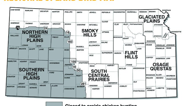 A map of the upland bird zones from the 2020-21 Kansas Upland Bird Forecast.