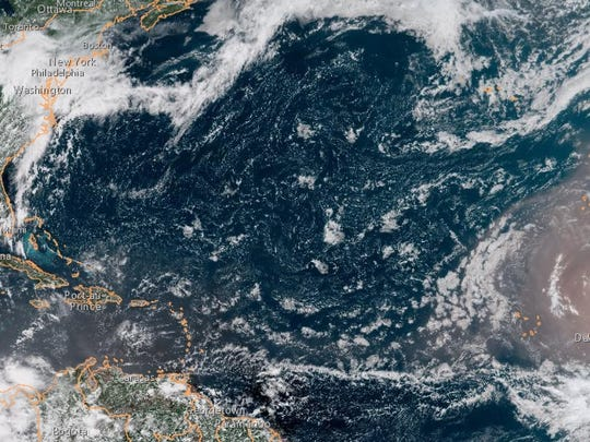 Saharan dust can be seen moving over the Atlantic in