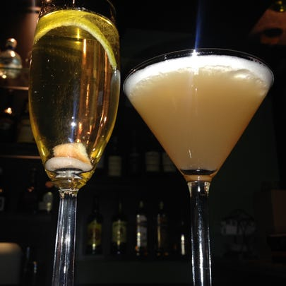 A champagne cocktail and French Martini at Bella Fresca