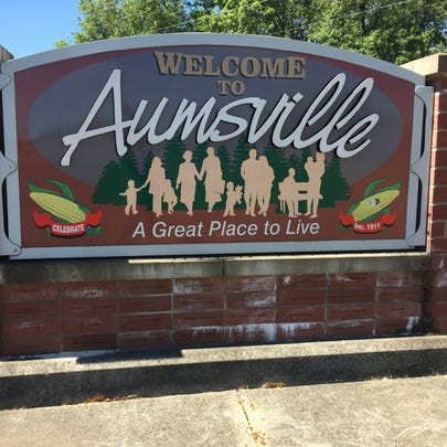 The sign entering Aumsville. The city will shortly