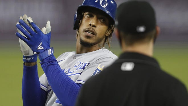Kansas City's Adalberto Mondesi celebrates after getting a hit in a game last season. Mondesi will make his season debut Tuesday at Tampa Bay after coming off the injured list for an oblique strain.