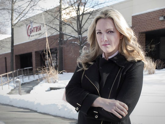 Vanessa Pawlak, former Chief Compliance Officer for Centria Healthcare, is photographed outside company offices in Novi, Wednesday, Feb. 7, 2018. In competing litigation, Centria has accused her of defamation and she has accused the company of wrongful discharge.