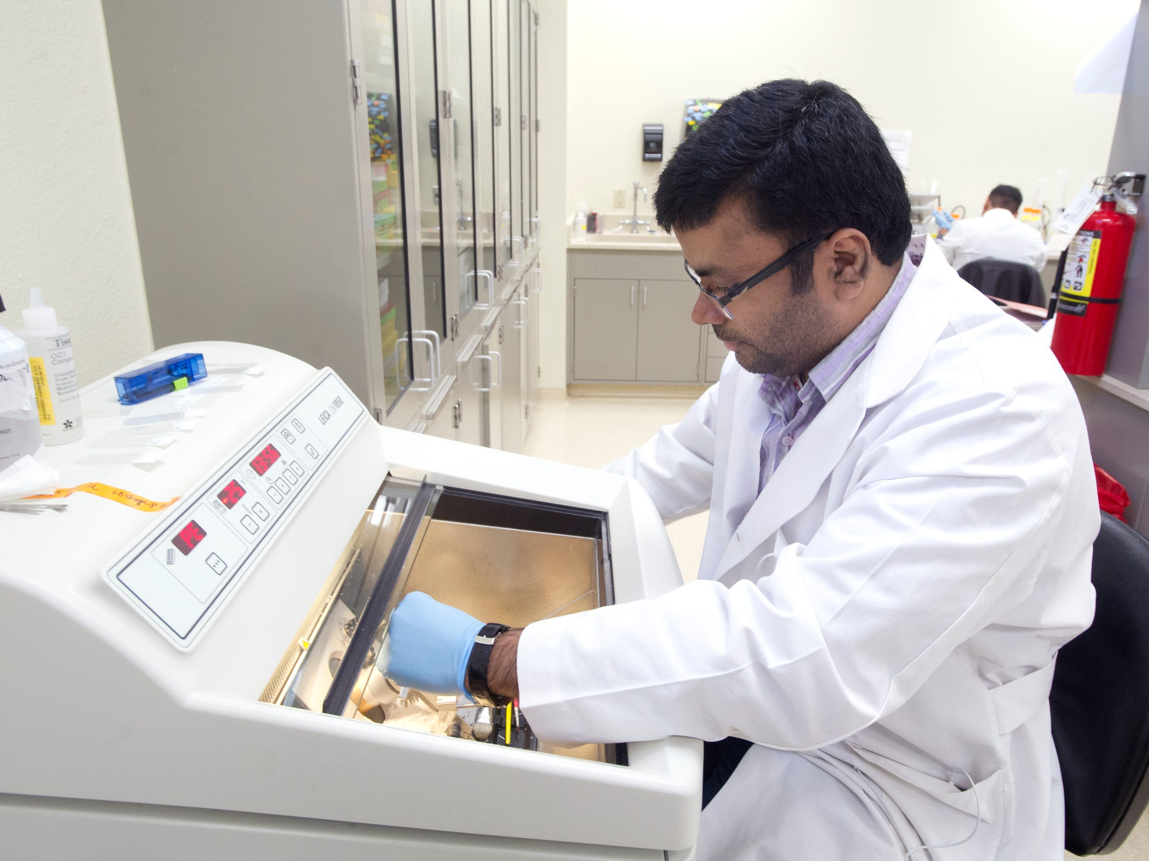 Shah Nawaz prepares tissue sections to study the effects of a new drug on lung cancer cells at the Texas Tech School of Pharmacy research lab.
