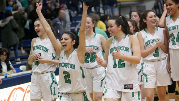 Irvington's Olivia Valdes (2) and the rest of her Bulldog