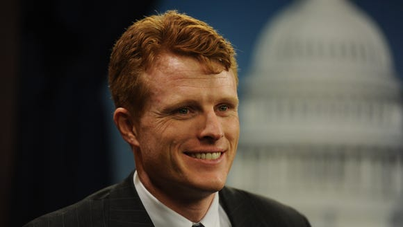 Rep. Joe Kennedy III, D-Mass., is interviewed by USA