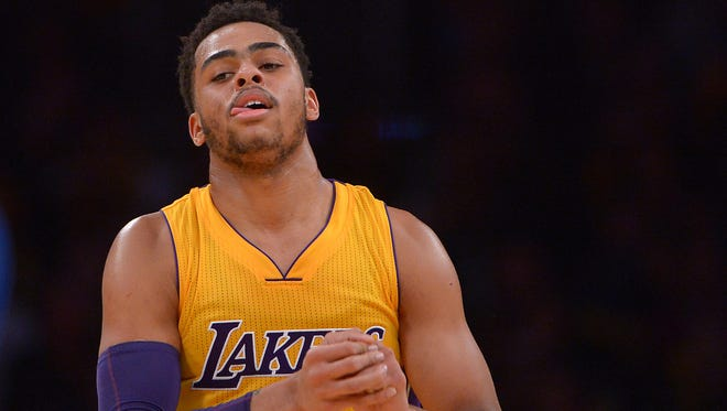 Los Angeles Lakers guard D'Angelo Russell (1) has caused problems with his team.