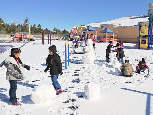 a playground of snow