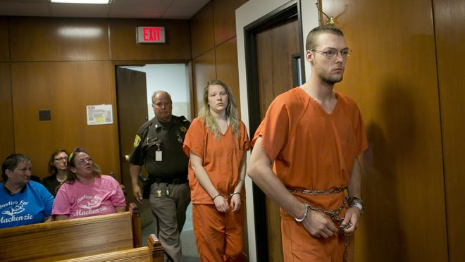 Hilery and Andrew Maison are led into the courtroom of Judge Michael Hulewicz for a probable cause conference Tuesday, June 9, 2015 at the St. Clair County Courthouse in Port Huron. Hilery and Andrew Maison are charged with open murder, two counts of torture, and two counts of first-degree child abuse.