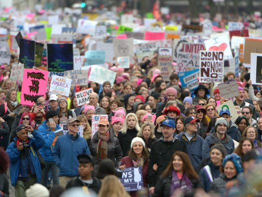 Thousands of attendees fill the streets during the