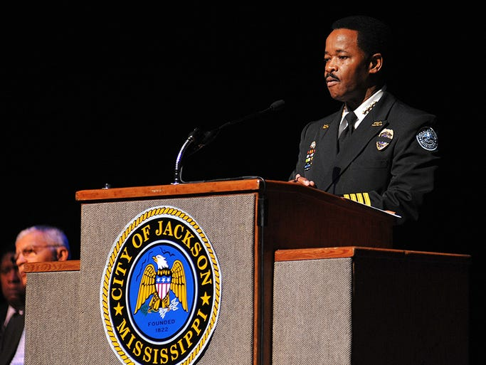 Jackon Police Chief Lindsey Horton speaks during a memorial service for Jackson Police Officer Bruce Daniel Jacob at Thalia Mara Hall in Jackson.