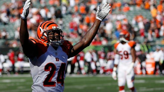 Bengals cornerback Adam Jones celebrates Sunday's 24-10 win against the Atlanta Falcons at Paul Brown Stadium.