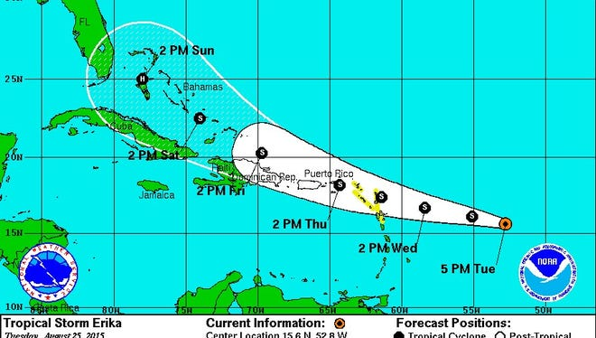 Potential five-day track of Tropical Storm Erika as of 5 p.m. on Tues. Aug. 25