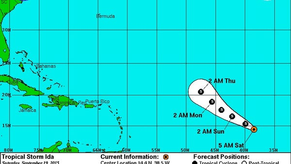 Latest track for Tropical Storm Ida.