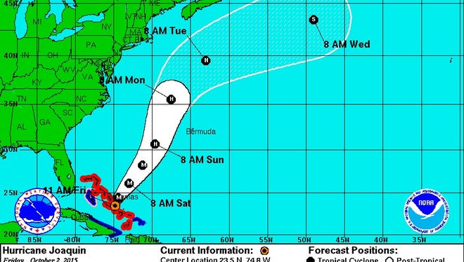 Hurricane Joaquin's track as of 11 a.m.