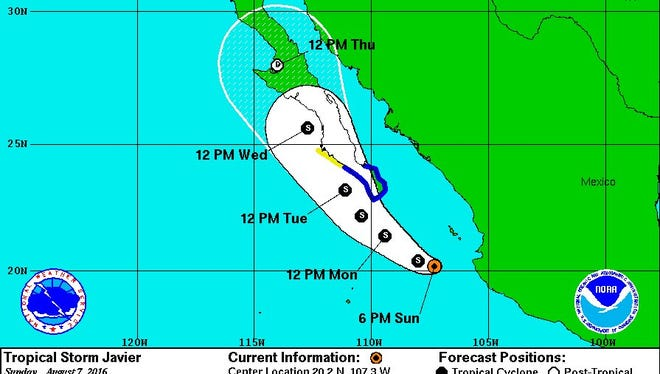 Tropical Storm Javier on Sunday, Aug. 7, 2016