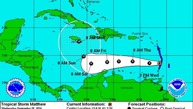 Tropical Storm Matthew's expected track.