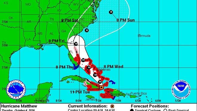 Hurricane Matthew tracker at 11 p.m. Tuesday.