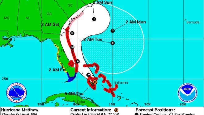 Hurricane Matthew's projected path on the morning of Thursday, Oct. 6.