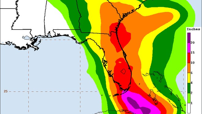 U.S. rainfall projections from the National Hurricane Center as of 4:35 p.m. Friday.