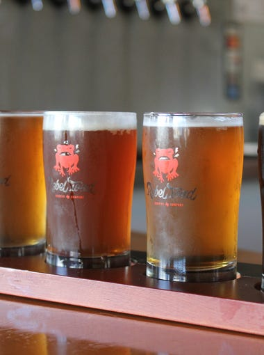 A flight of beers is served at Rebel Toad Brewing Co. Feb. 1, 2018.