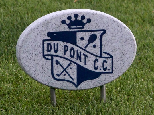 A tee marker at DuPont Country Club, Tuesday, April 21, 2015. The Country Club has been offered for sale.