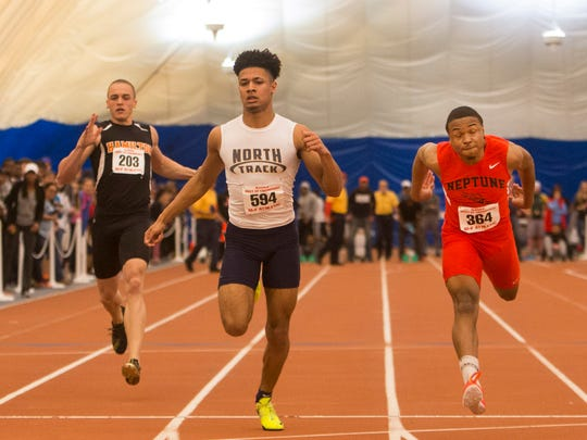 Neptune's  Marvin Morgan (right)  just beat out Toms River North's Bryce Watts at the finish line in the 55 meter dash at NJSIAA Boys State Indoor Track Championships at Bennett Complex in Toms River NJ on February 25, 2017.